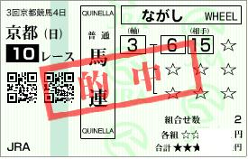 5月3日の京都10R馬連期待値の高い2頭流し的中馬券