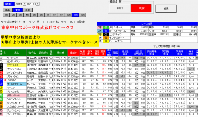 ロボ11月12武蔵野S直前分析画面