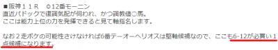 必買い1点候補3/31阪神11Rモーニン6-12