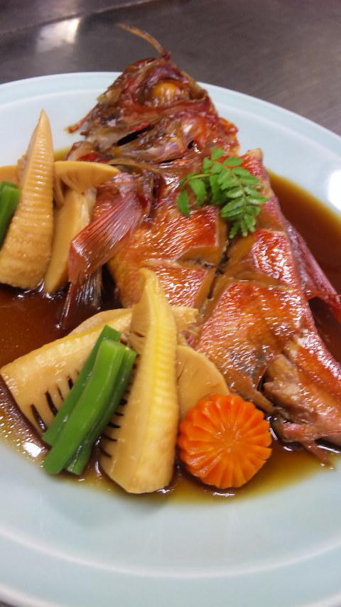 金目鯛の煮付け竹の子添え