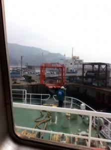 金谷港に到着