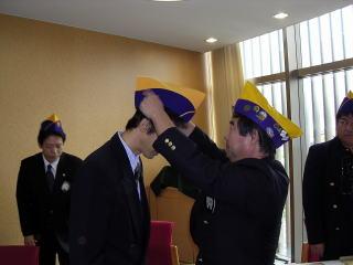 相良会長より帽子の授与
