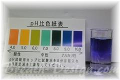 アルカリイオン水は試薬を入れると青色に変色