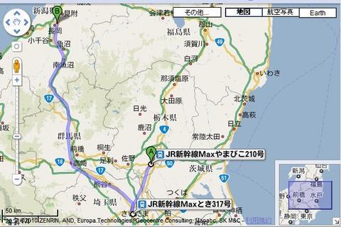 新幹線乗り継ぎで栃木から新潟・長岡まで
