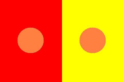 比色 オレンジ 色相対比