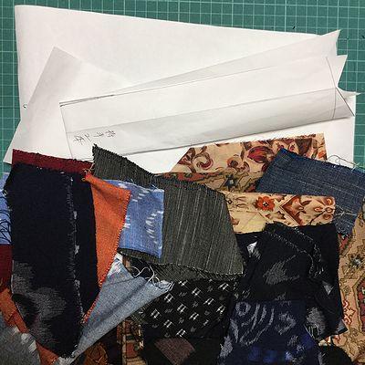 バッグの型紙と生地