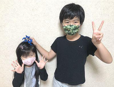 マスク姿の孫達