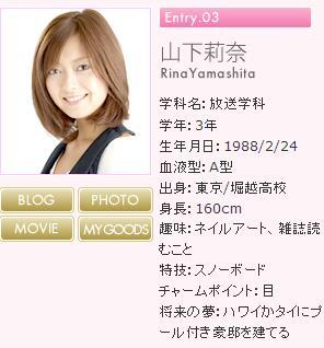 山下 莉奈 | ミス日芸コンテスト2008 | ブログ | キャンパスナビ -CampusNavi