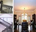 左上:啓明館階段  左下:ハリス理化学館 階段 右:アーモスト館(寮)