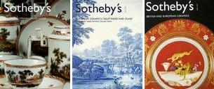 left:Sothebys European Ceramics Glass BOOK Delft Meissen (Amsterdam 14 OCT 2003) center:SOTHEBYS EUROPEAN CERAMICS DELFTWARE GLASS 2004 CATALOG  right:Sothebys, British and European Ceramics 2.4.2003