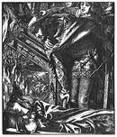 ダンテ・ゲィブリエル・ロセッティ 引用:【遙かに塔の見おろす下、露台の下 庭園の壁、回廊を過ぎて はかない光りを宿して なきがらは漂った 軒高い家の狭間を 青ざめて言葉なく、キャメロットまで 人々は舟場に集まる 騎士も町人も、貴族も貴婦人も 舳先に読めるその名はシャロットの姫。誰だろう? なぜここに?ほど近い、灯火で輝く王宮も王侯のさざめきも絶え果てた。おそれて十字を切る者もある キャメロットに集う大勢の騎士達。されどランスロット卿、しばし瞑目し、いみじくもこうつぶやいた。「神のおん恵み、うるわしのシャロットの姫君に垂れたまわんことを」】