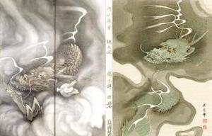 左:「雲龍図」(部分) 右:木版画版元 芸艸堂「龍之図」