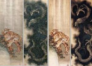 左:葛飾北斎「虎図」(雨中の虎)太田記念美術館蔵/右:葛飾北斎「龍図」(没する直前の1849年に描いた肉筆画)フランス国立ギメ美術館蔵