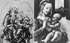 左:習作 猫と聖母子(猫を持つ聖母子) - 1478、右:カーロナヤコレクション 猫と聖母(猫を持つ聖母)