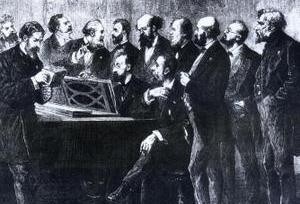 Un jury en 1878 au Palais du Luxembourg. On reconnaîtCésar Franck (4e en partant de la droite); Ambroise Thomas à l'extrême droite. Camille Saint-Saëns est au piano.
