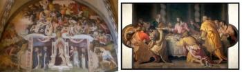 Fresco before restoration by Andrea di Alessandro Allori Last Supper, after restoration by Andrea di Alessandro Allori