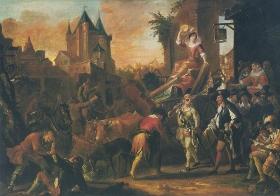 Peinture de larrivée des comédiens au Mans, daprès le roman de Scarron: Le Roman Comique. La peinture fut entamé en 1712 et achevée en 1716. Ce nest que la plus connue dune série de plusieurs autres, faites pour célébrer le plus célèbr