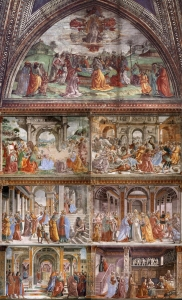 Frescoes on the left wall: Stories of the Virgin