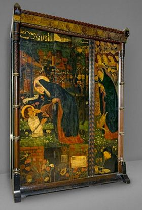 Cabinet decorated with scenes from The Prioresss Tale_Ashmolean Museum