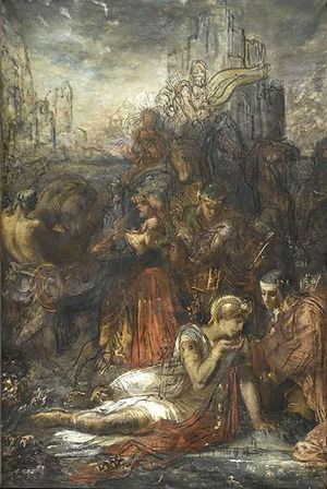 Darius fuyant après la bataille d'Arbelles s'arrête, épuisé de fatigue, pour boire dans une mare