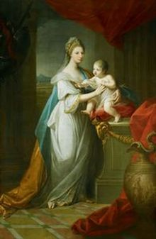 Augusta, Duchess of Brunswick, with her son 1767