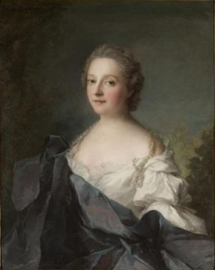 Portrait of a lady, half length, wearing a pearl necklace, a white dress and a blue shawl