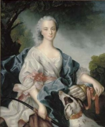 Manner of Jean Marc Nattier Portrait of a lady dressed as Diana the Huntress, seated half-length