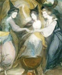 Lady Melbourne (left) and Georgiana (right) and Mrs Dawson Damer as the Three Witches  from Macbeth Shakepeare by Daniel Gardner