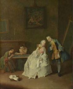 A Lady receiving a Cavalier 1745-55, Pietro Longhi  The National Gallery, London