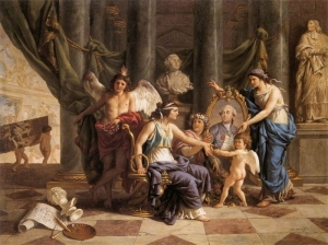 Lagrenee, Louis Jean - Allegory on the Installation of the Museum in the Grande Galerie of the Louvre - 1783