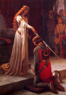 騎士の叙任(ランスロットとグィネヴィア王妃) 1901 Edmund Blair Leighton