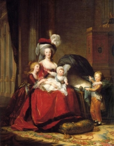 This State Portrait by Élisabeth Vigée-Lebrun (1787) of Marie Antoinette and her children Marie Thérèse, Louis Charles (on her lap), and Louis Joseph, was meant to help her reputation by depicting her as a mother and in simple, yet stately attire
