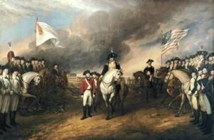 John Trumbull 「Surrender of Lord Cornwallis」 die französischen Offiziere; rechts: die amerikanischen Offiziere;