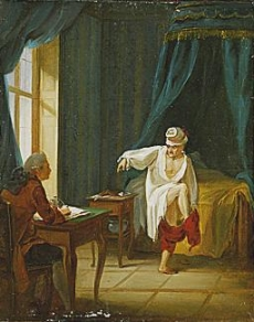 Voltaire in his night shirt, putting on his trousers while dictating to his secretary, in his home in Fernet (today Fernet-Voltaire), France. Oil on paper glued on cardboard