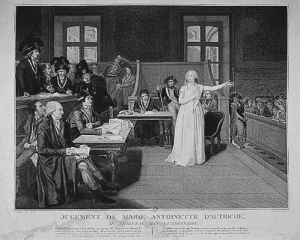 Queen At Tribunal:1st October 1793: Queen Marie Antoinette of France is questioned at the Revolutionary Tribunal, Paris. Present are the revolutionary politicians Antoine Quentin Fouquier-Tinville (1747 - 1795), Jacques Rene Hebert, (1755 - 1794), and Ch