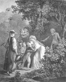 Jean-Frédéric Schall (1752 ? 1825) et sculptée par Augustin Claude Simon Legrand (1765 - 1815). Elle est intitulée :  L'Elisée  et illustre la Lettre XI De St Preux à Milord Edouard de la Nouvelle Héloise de J. J. Rousseau