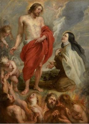 Heilige Theresia van Ávila bekomt door Christus tussenkomst de verlossing uit het vagevuur van Bernardino de Mendoza