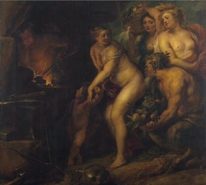 Venus et Cupidon dans la forge de Vulcain