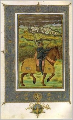 Miniatore fiorentino del 1472, federico da montefeltro durante lassedio di volterra, biblioteca apostolica vaticana, poggio bracciolini, historia florentina, ms. urb lat 491 f. IV v