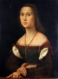 Raffaello Sanzio Santi : The Mute Woman 1507, Oil on wood, 64 x 48 cm. Galleria Nazionale delle Marche