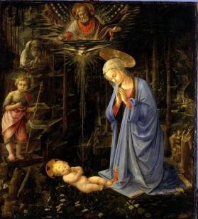 Maria, das Kind verehrend, mit dem Johannesknaben und dem Hl. Bernhard (Die Anbetung im Walde)