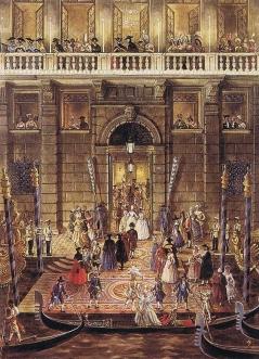 Ballo offerto da Charles de Beistegui  palazzo sul Canal Grande Venezia, Palazzo Labia, 3 settembre 1951. Gondola dal Canal Grande by Alexandre Serebriakoff