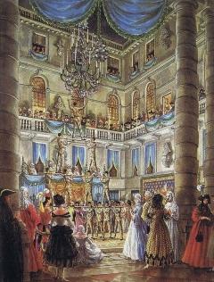 Ballo offerto da Charles de Beistegui  palazzo sul Canal Grande Venezia, Palazzo Labia, 3 settembre 1951. una piramide umana (Una squadra di pompieri veneziani) by Alexandre Serebriakoff