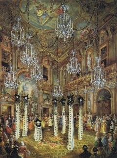 Ballo offerto da Charles de Beistegui  palazzo sul Canal Grande Venezia, Palazzo Labia, 3 settembre 1951. Phantoms of Venice(Masks and Dominoes Costumes created  Dali and Dior) by Alexandre Serebriakoff