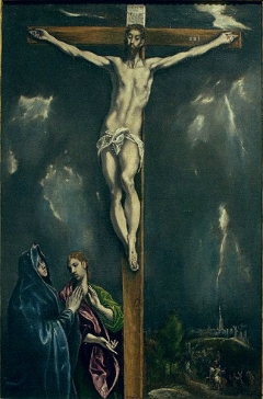 """El Greco, """"The Crucifixion with Mary and Saint John"""" (c.1603-1605) Ringling Museum"""
