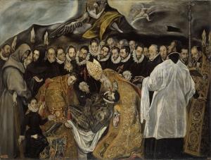 Entierro del señor de Orgaz pintura conservada en el Museo del Prado. Copia atribuida a Jorge Manuel Theotocópuli (hijo de El Greco)