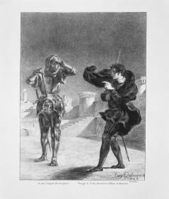 Act I, scene v. The ghost and Hamlet on the battlement. 1843.