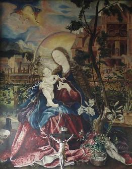 Kopie des Madonnenbildes von Matthias Grünewald durch Christian Schad in der Maria-Schnee-Kapelle in der Stiftskirche St. Peter und Alexander in Aschaffenburg (Original: Stuppacher Madonna)