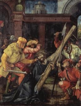 Matthias Grünewald: Die Kreuztragung Christi, um 1523/24, Mischtechnik auf Tannenholz, 195,5 x 142,5 cm Staatliche Kunsthalle Karlsruhe