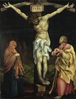 Matthias Grünewald, Christus am Kreuz zwischen Maria und Johannes, um1523/24, Staatliche Kunsthalle Karlsruhe